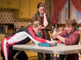 L-R: Greta Wohlrabe as Beverly Nowak, Kat Wodtke as Ruth Nowak, Josh Krause as Jimmy Nowak.