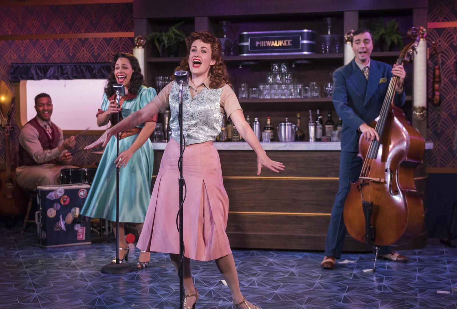 Milwaukee Repertory Theater presents The All Night Strut! in the Stackner Cabaret from November 9, 2018 – January 13, 2019.  Left to Right: Nygel D. Robinson, Katherine Thomas, Kelley Faulkner, Brian Russell Carey
