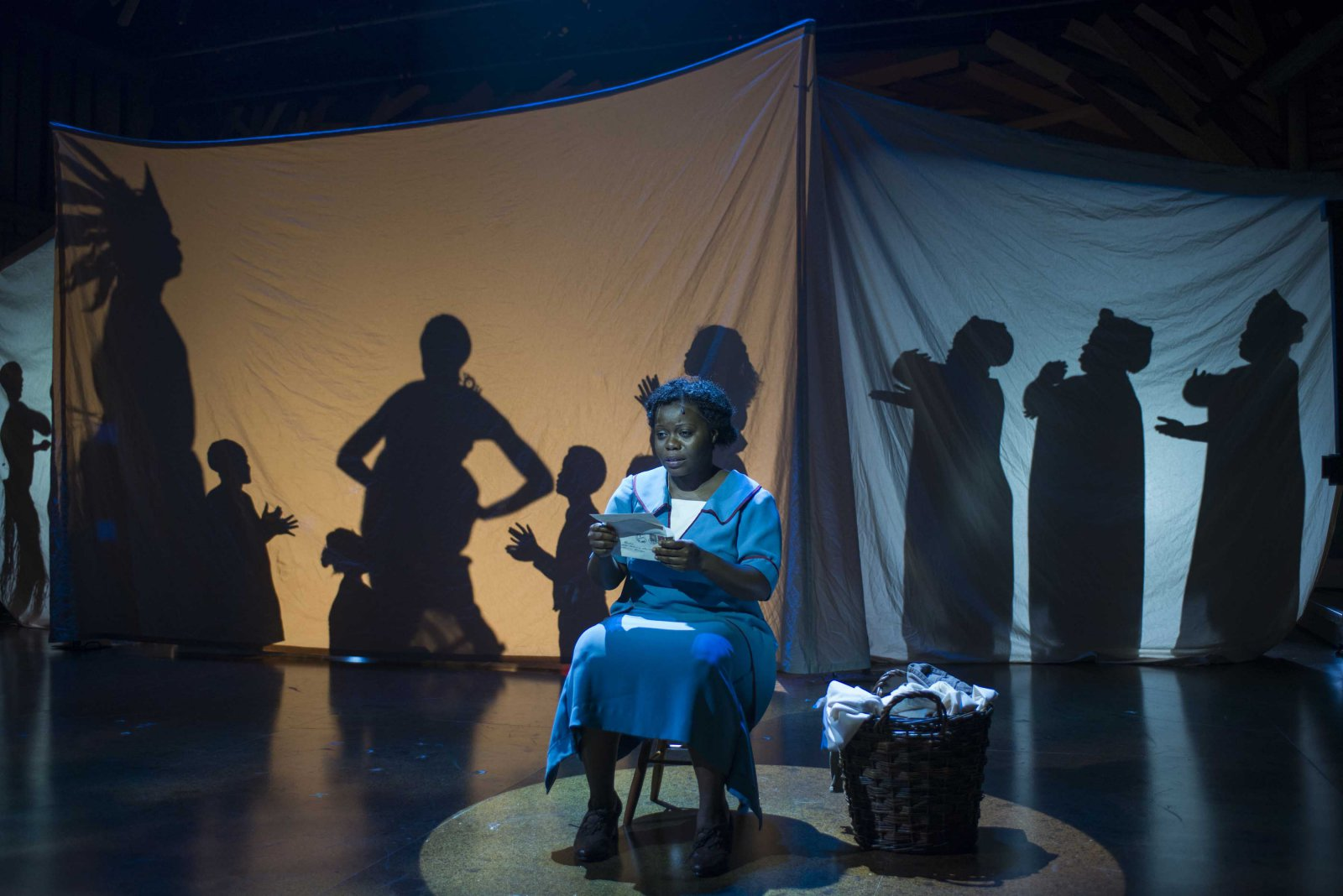 Zonya Love as Celie and cast pictured in Milwaukee Repertory Theater's 2014/15 Quadracci Powerhouse production of The Color Purple.
