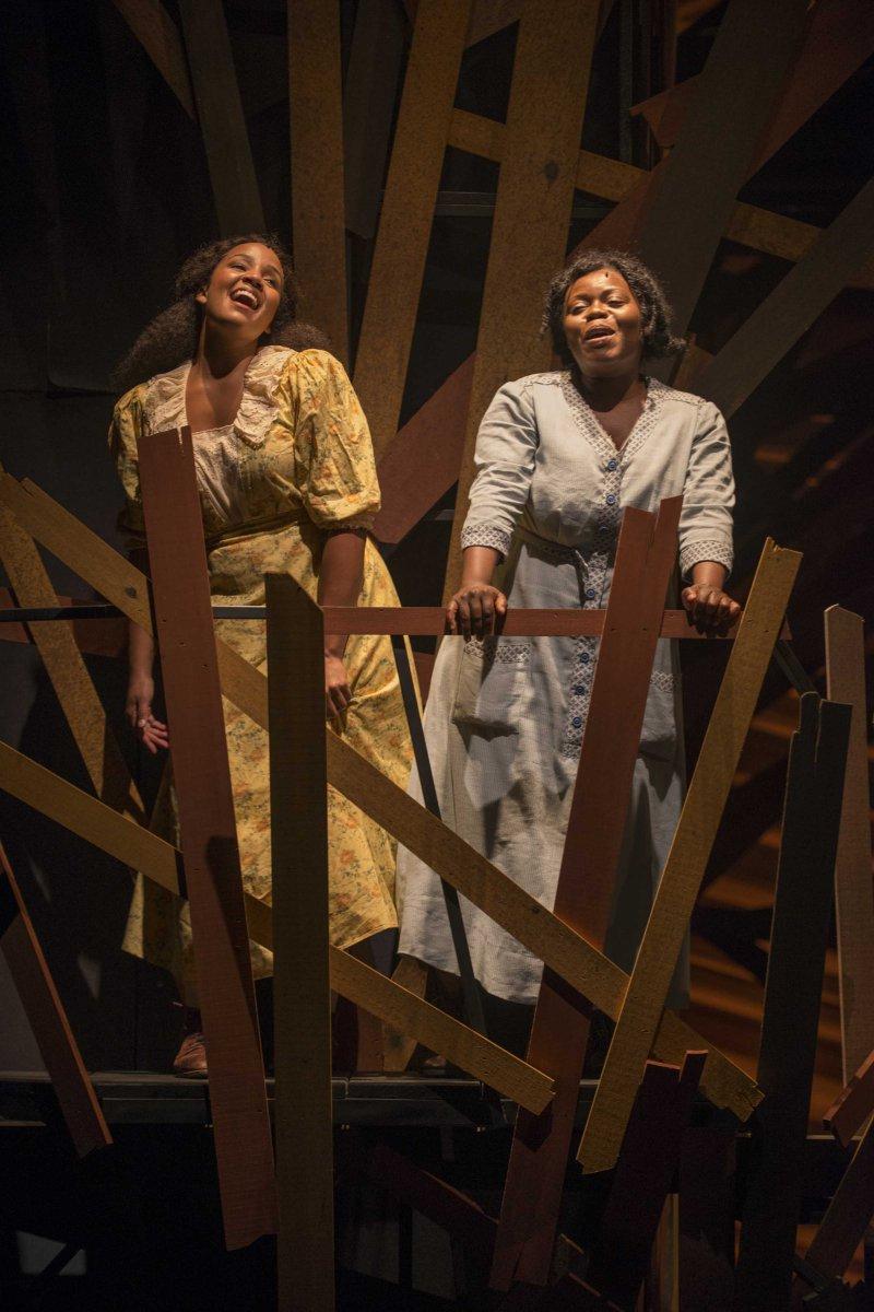Stephanie Umoh (Nettie) and Zonya Love (Celie) in Milwaukee Repertory Theater's 2014/15 Quadracci Powerhouse production of The Color Purple.