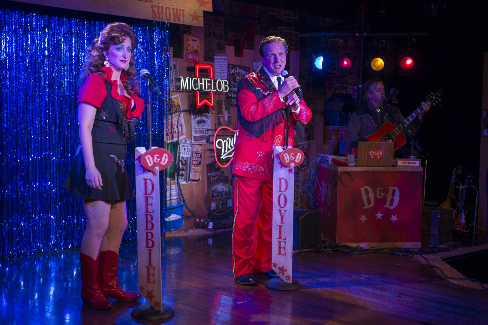 Erin Parker as Debbie, Michael Accardo as Doyle, and Bo Johnson as Buddy in Milwaukee Repertory Theater's 2014/15 Stackner Cabaret production of The Doyle & Debbie Show. Photo by Michael Brosilow.