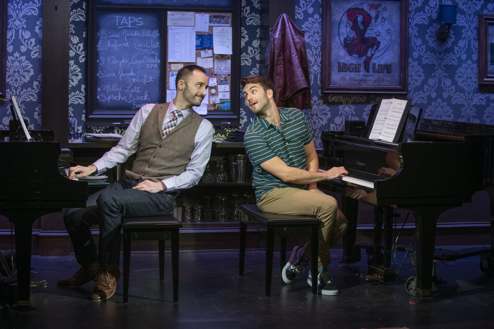 Milwaukee Repertory Theater presents 2 Pianos 4 Hands by Ted Dykstra and Richard Greenblatt in the Stackner Cabaret September 8 – November 3, 2019 featuring Joe Kinosian (left) and Ben Moss (right