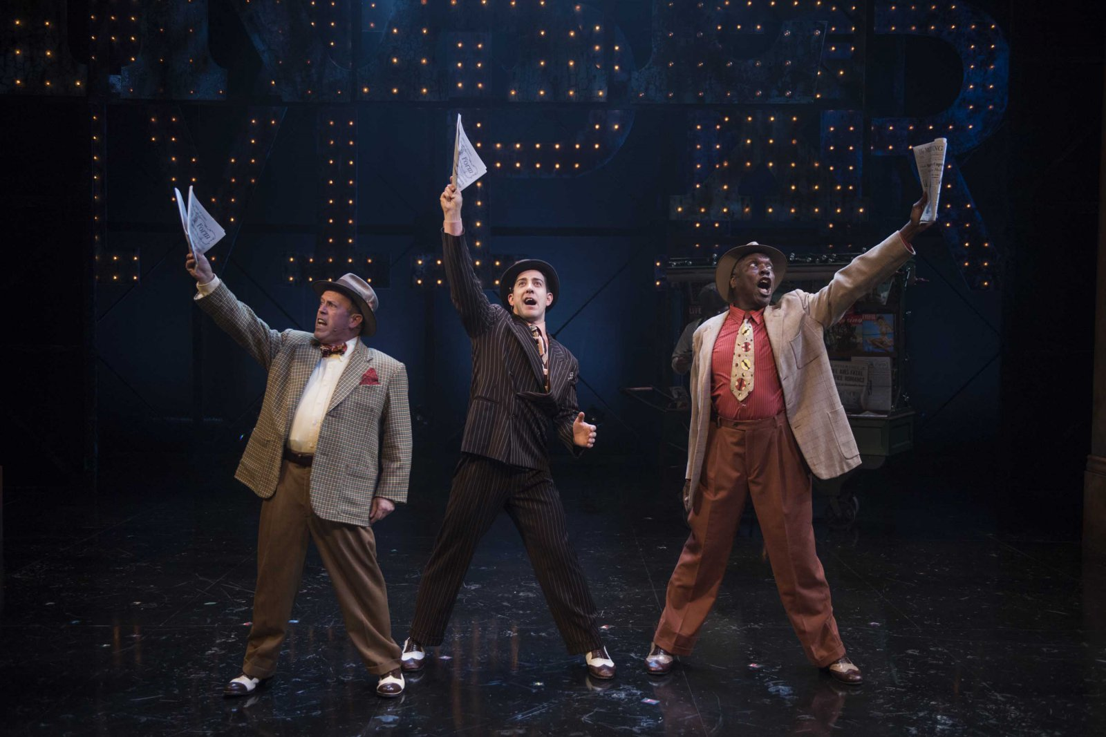 Milwaukee Repertory Theater presents Guys and Dolls in the Quadracci Powerhouse from September 19 to October 29, 2017. Left to Right: Michael J. Farina, Adrian Aguilar, Gerry McIntyre