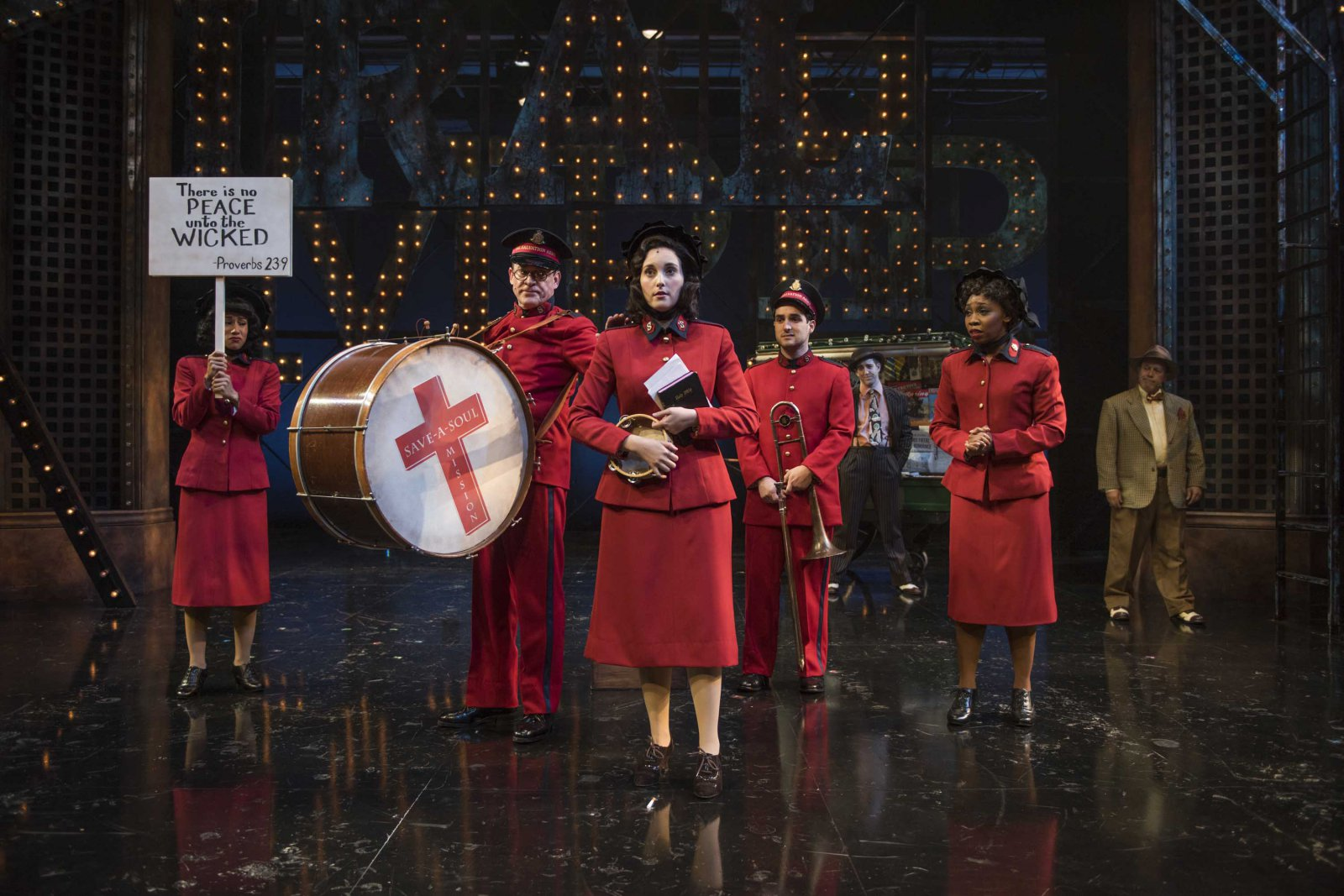 Milwaukee Repertory Theater presents Guys and Dolls in the Quadracci Powerhouse from September 19 to October 29, 2017. Emma Rose Brooks (center) and cast