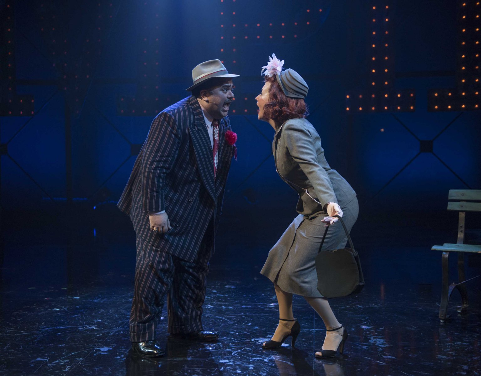 Milwaukee Repertory Theater presents Guys and Dolls in the Quadracci Powerhouse from September 19 to October 29, 2017. Left to Right: Richard R. Henry and Kelley Faulkner