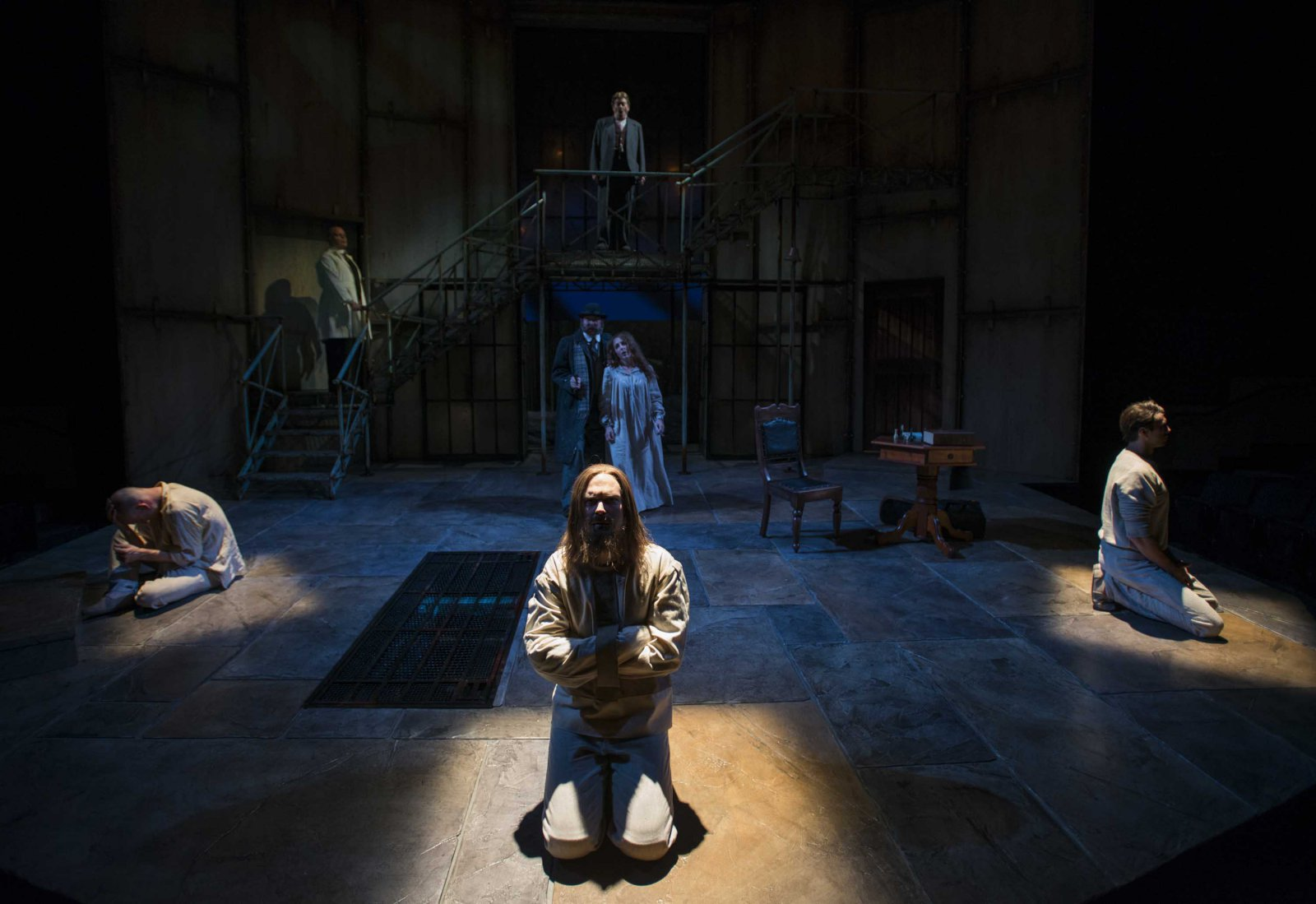 Milwaukee Repertory Theater presents Holmes and Watson in the Quadracci Powerhouse from November 14 to December 17, 2017. Left to Right: Rex Young, Mark Corkins, Norman Moses, Eric Damon Smith, Maggie Kettering, Grant Goodman and Ryan Imhoff.