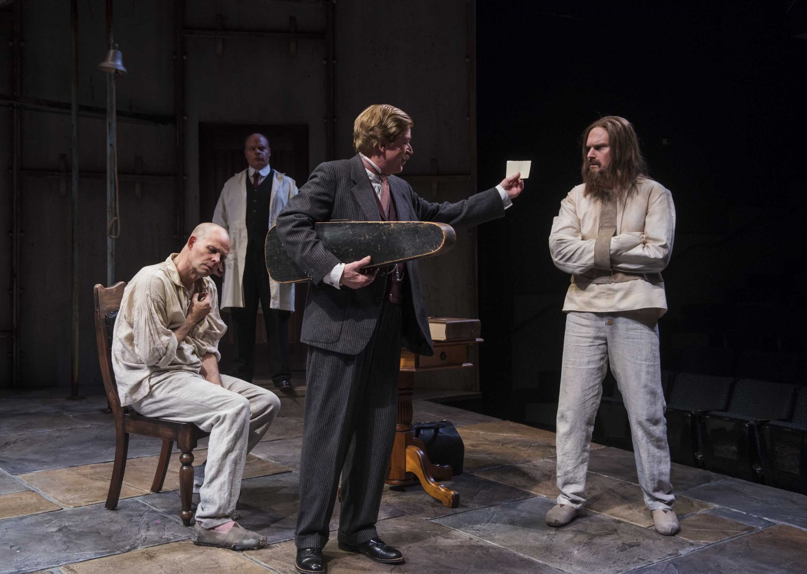 Milwaukee Repertory Theater presents Holmes and Watson in the Quadracci Powerhouse from November 14 to December 17, 2017. Left to Right:  Rex Young, Mark Corkins, Norman Moses and Grant Goodman.