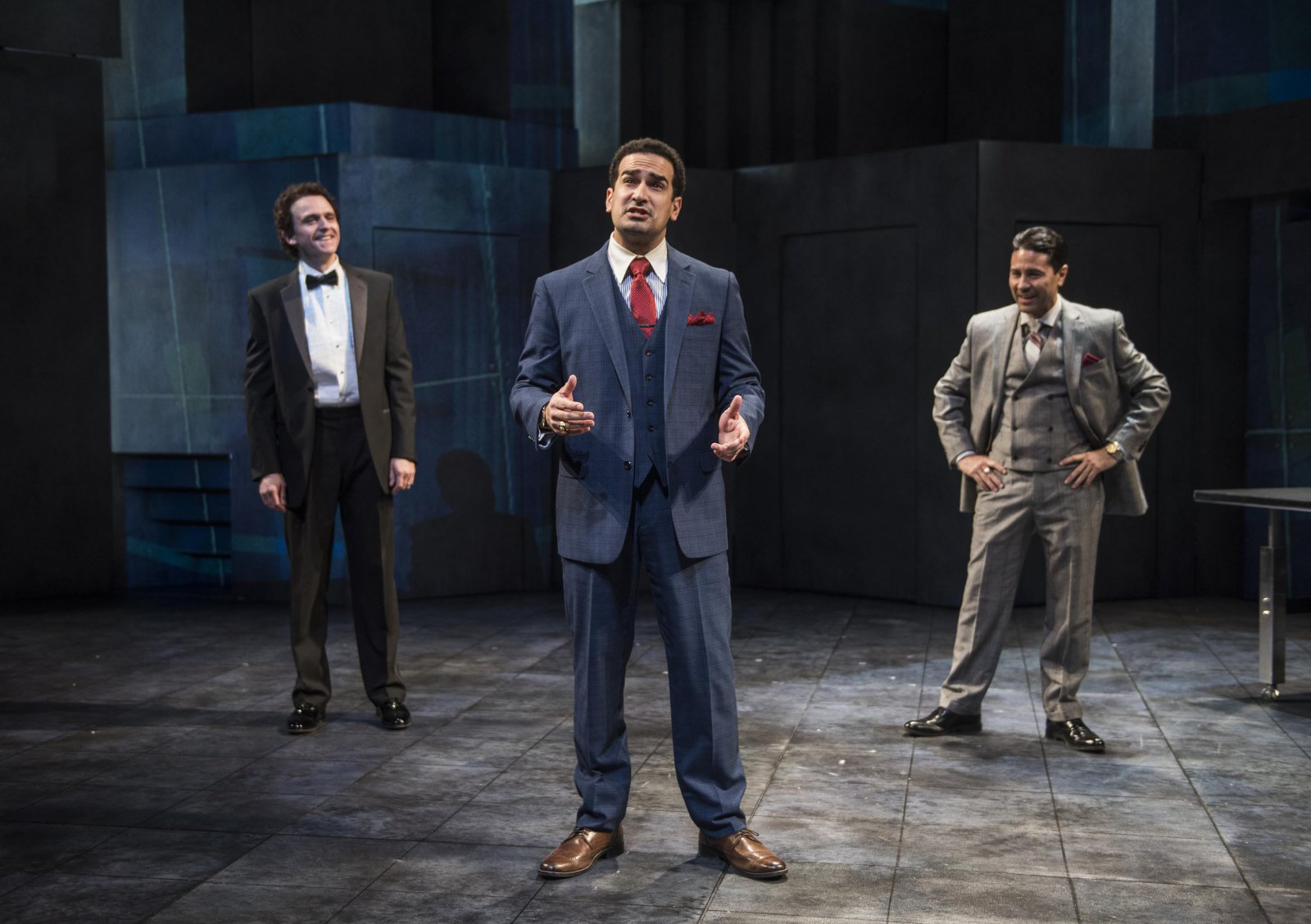 Milwaukee Repertory Theater presents Junk in the Quadracci Powerhouse from January 15 – February 17, 2019.  Left to Right: Gregory Linington, Demetrios Troy, Justin Huen.
