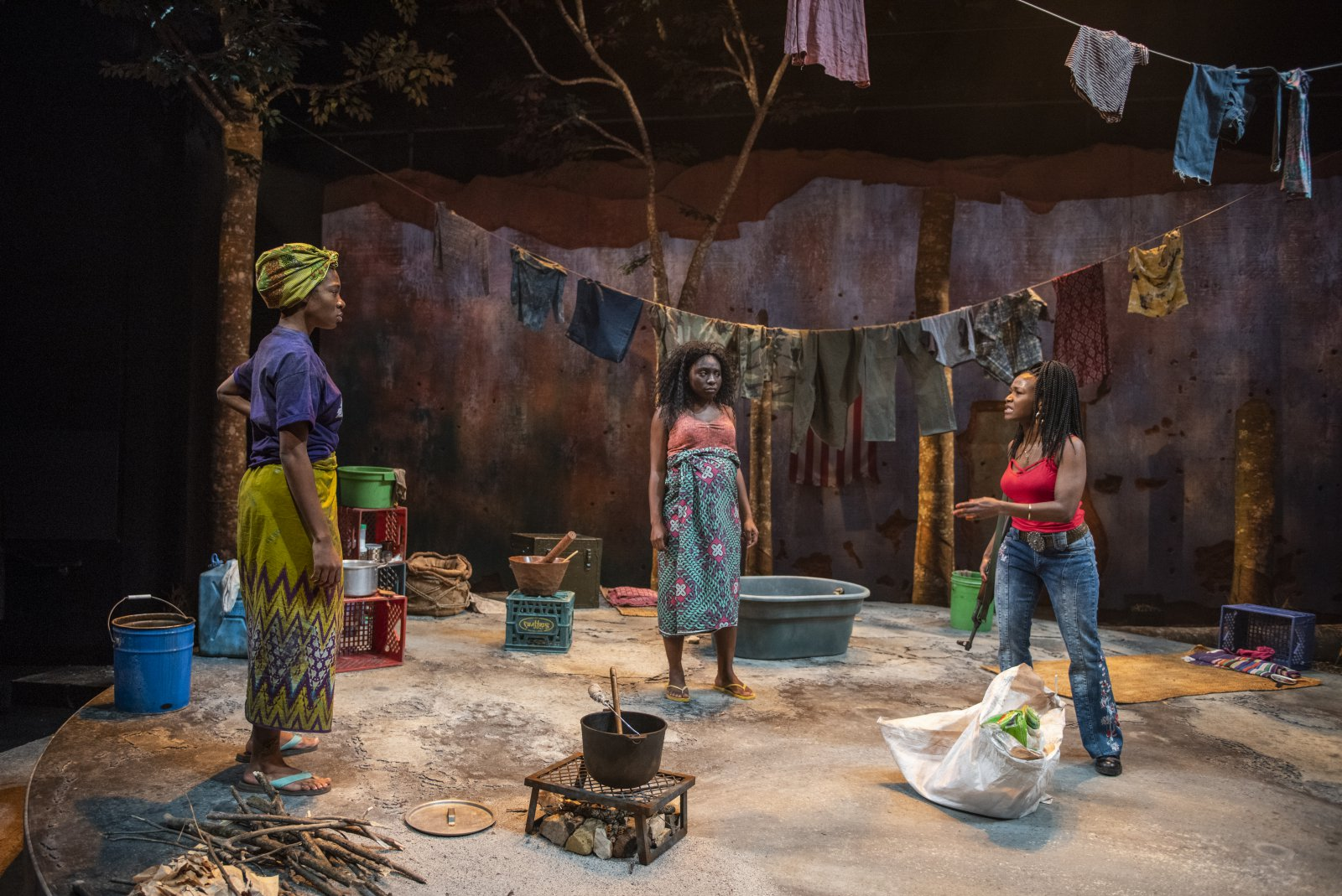 Milwaukee Repertory Theater presents Eclipsed in the Quadracci Powerhouse March 3 – March 29, 2020. Left to right: Jacqueline Nwabueze, Sola Thompson and Ashleigh Awusie.