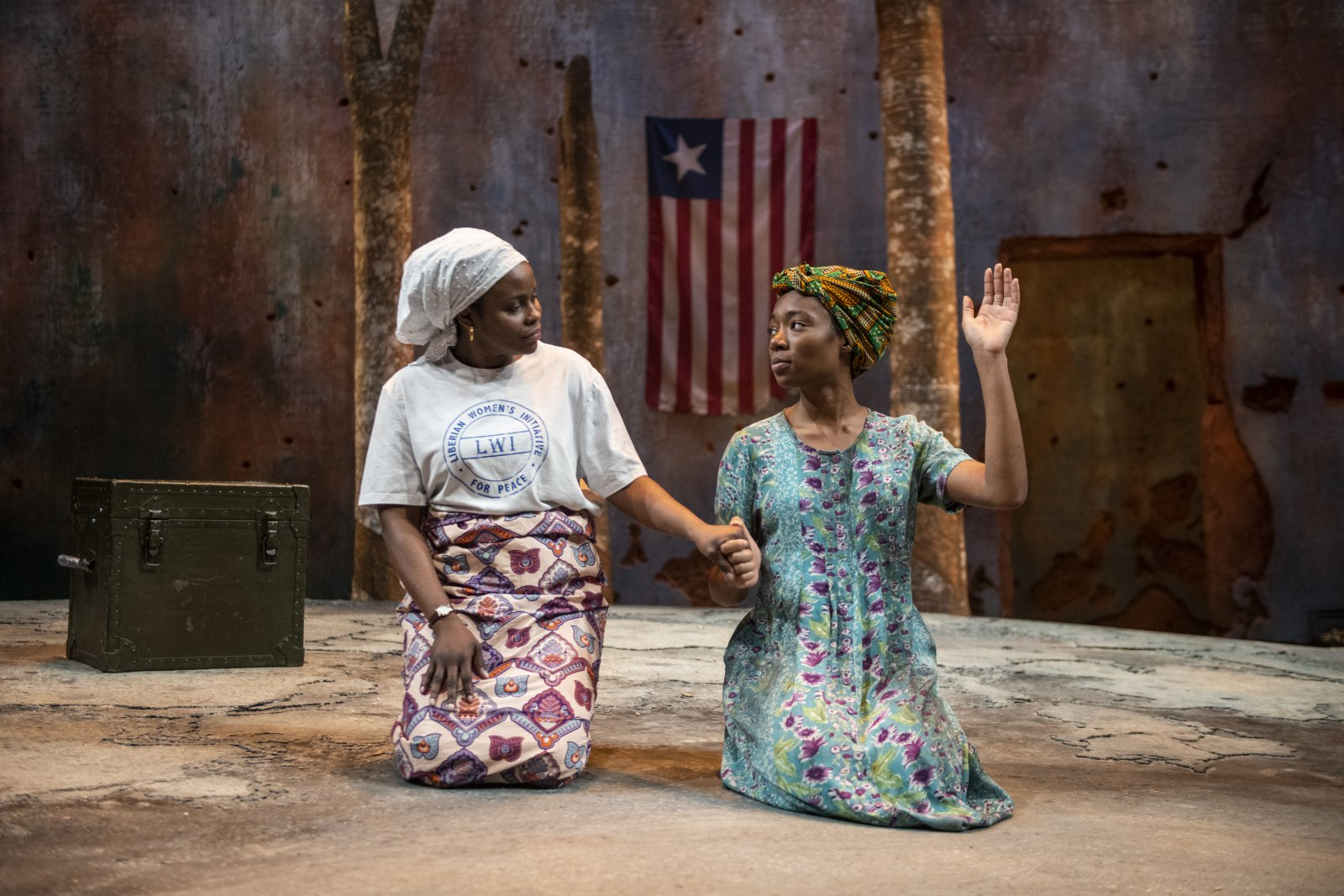 Milwaukee Repertory Theater presents Eclipsed in the Quadracci Powerhouse March 3 – March 29, 2020. Left to right: Nancy Moricette and Jacqueline Nwabueze.