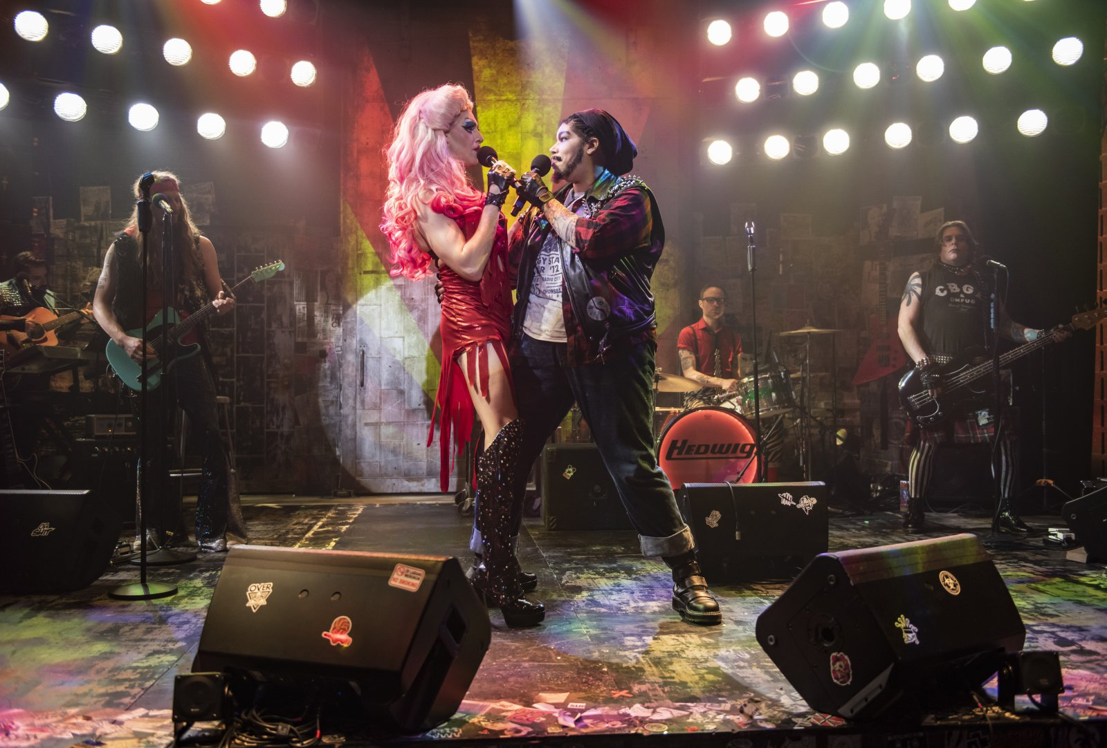 Milwaukee Repertory Theater presents Hedwig and the Angry Inch in the Stiemke Studio January 28 – March 8, 2020. Left to right: Matt Rodin and Bethany Thomas with the company of Hedwig and the Angry Inch.