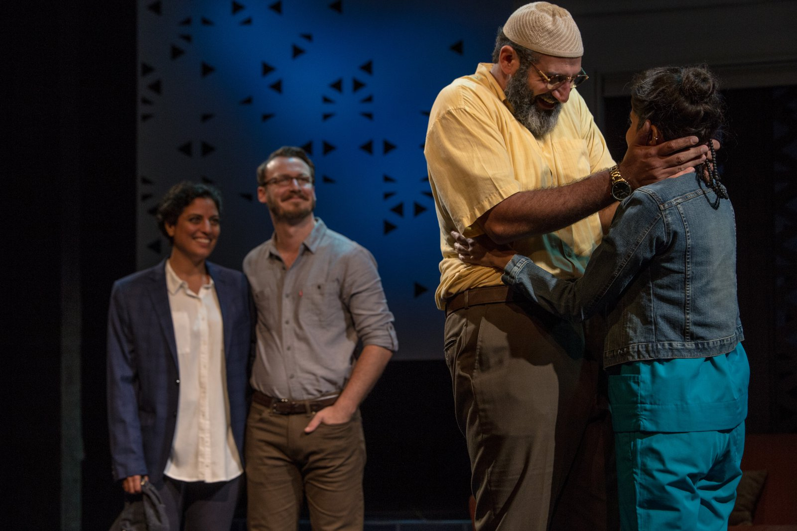 Milwaukee Repertory Theater presents The Who & The What in the Stiemke Studio from September 27 to November 5, 2017. Left to Right: Soraya Broukhim, Ben Kahre, Brian Abraham and Nikita Tewani