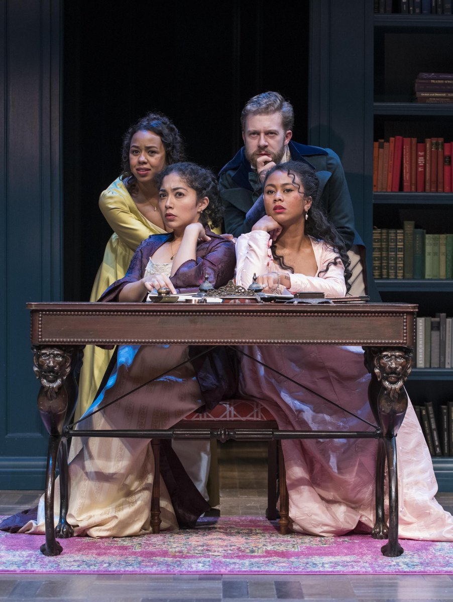 Milwaukee Repertory Theater presents Miss Bennet: Christmas at Pemberley in the Quadracci Powerhouse from November 13 – December 16, 2018.  Left to Right: Margaret Ivey, Sarai Rodriguez, Fred Geyer, Netta Walker