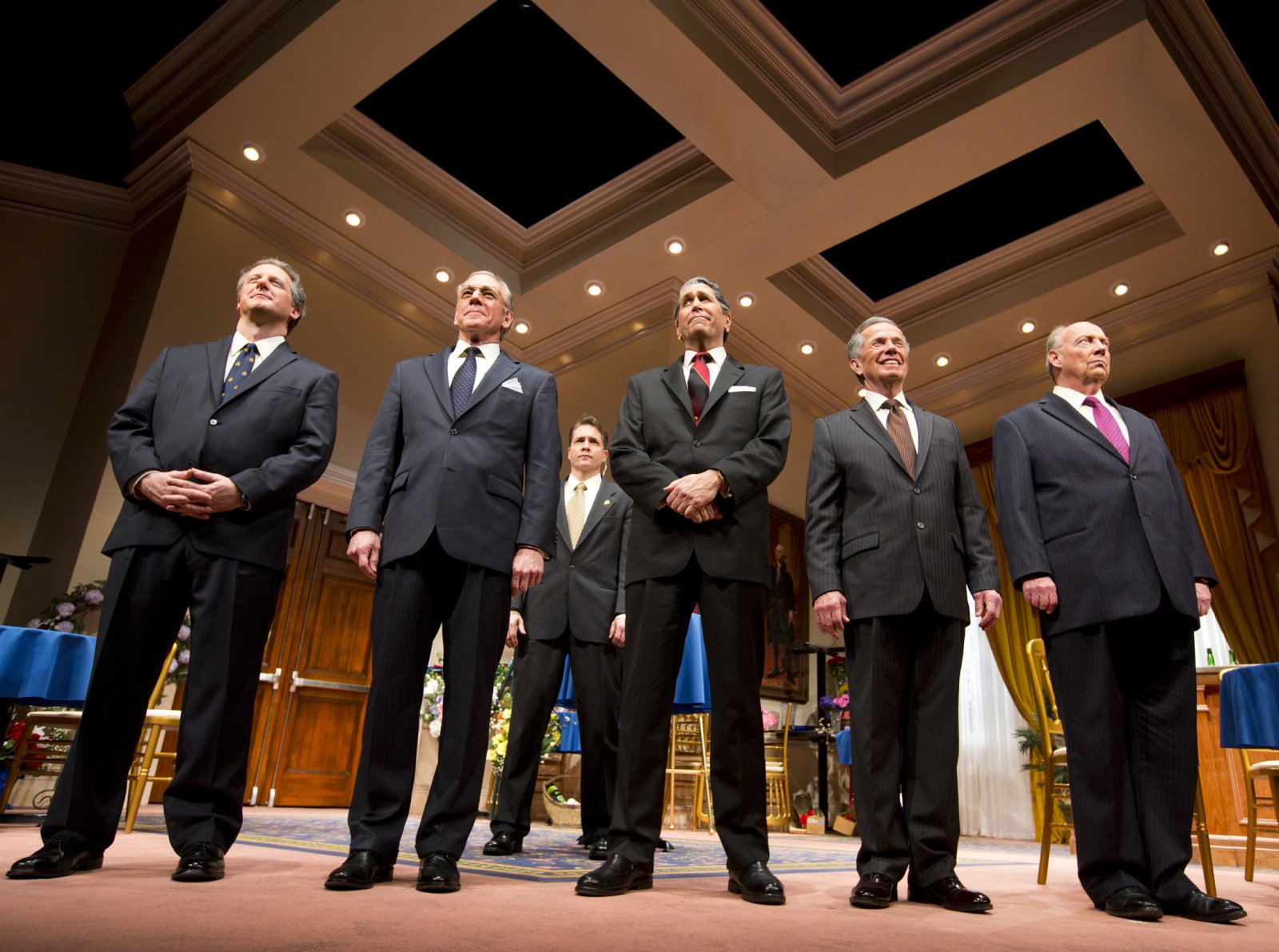(L – R) – Brit Whittle, Mark Jacoby, (back row) Reese Madigan, Steve Sheridan, Martin L'Herault, and Jeff Steitzer in Milwaukee Repertory Theater's 2014/15 Quadracci Powerhouse world premiere production of Five Presidents.