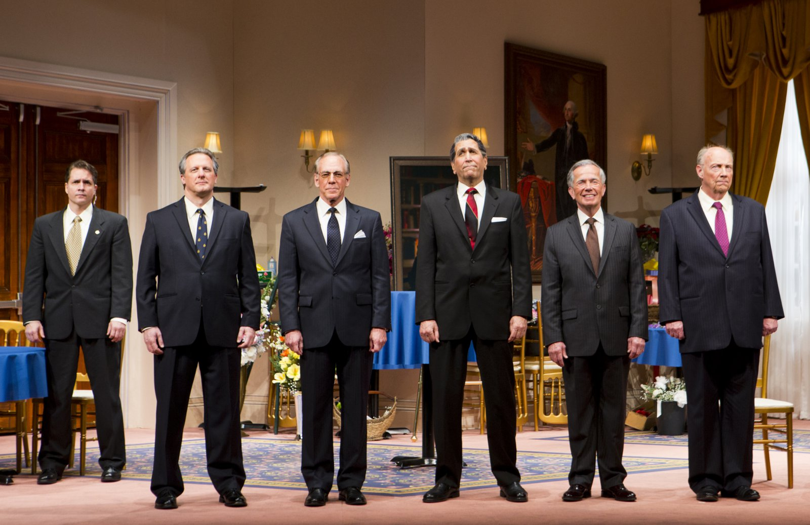(L – R) – Reese Madigan, Brit Whittle, Mark Jacoby, Steve Sheridan, Martin L'Herault, and Jeff Steitzer in Milwaukee Repertory Theater's 2014/15 Quadracci Powerhouse world premiere production of Five Presidents.