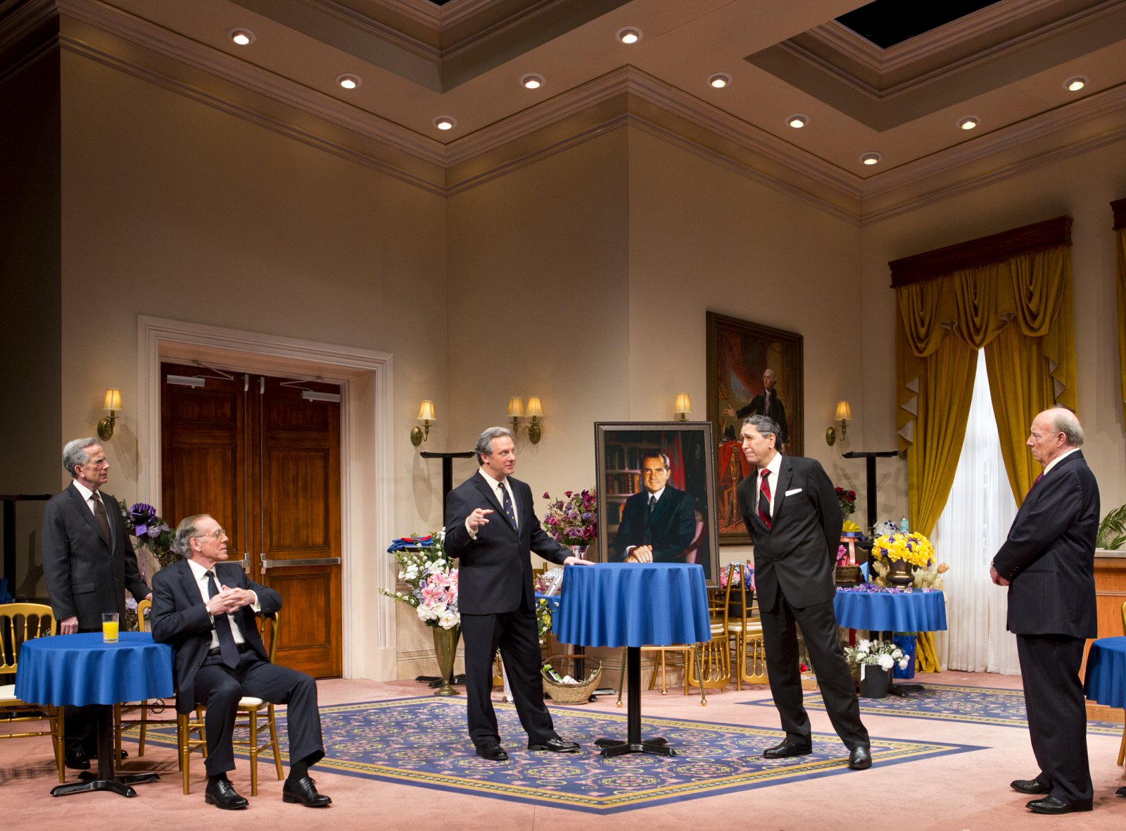 (L – R) – Martin L'Herault, Mark Jacoby, Brit Whittle, Steve Sheridan, and Jeff Steitzer in Milwaukee Repertory Theater's 2014/15 Quadracci Powerhouse world premiere production of Five Presidents.