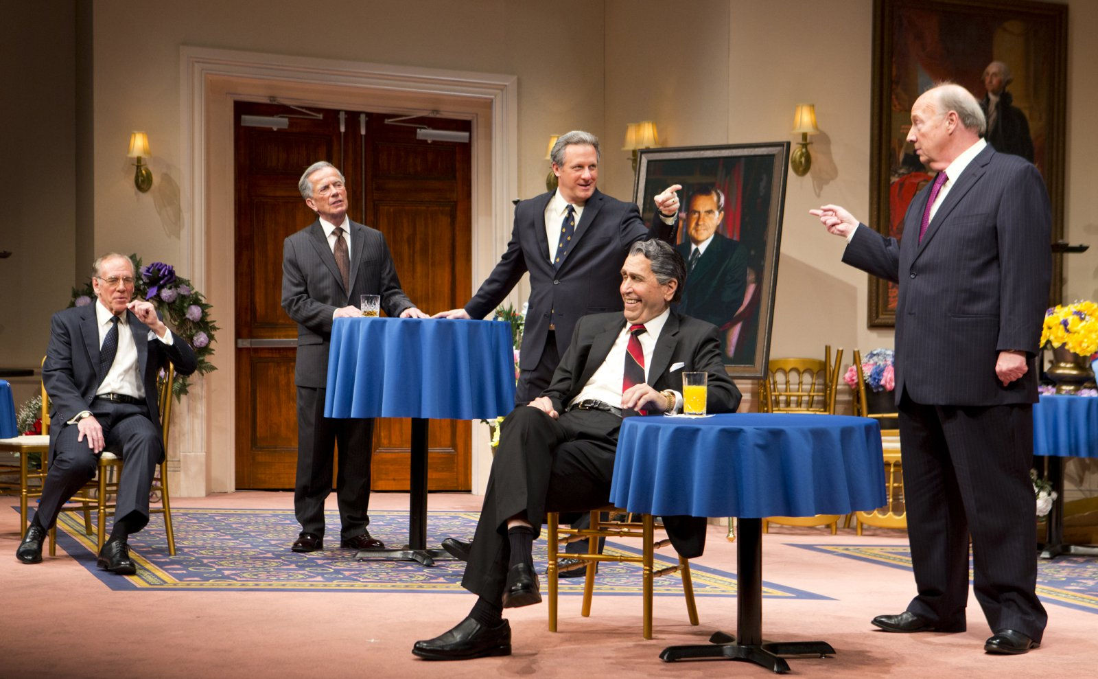 (L – R) – Mark Jacoby, Martin L'Herault, Brit Whittle, Steve Sheridan, and Jeff Steitzer in Milwaukee Repertory Theater's 2014/15 Quadracci Powerhouse world premiere production of Five Presidents.