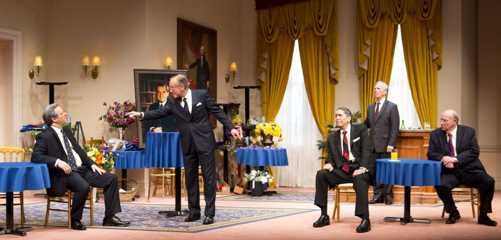 (L – R) –  Brit Whittle, Mark Jacoby, Steve Sheridan, (back row) Martin L'Herault, and Jeff Steitzer in Milwaukee Repertory Theater's 2014/15 Quadracci Powerhouse world premiere production of Five Presidents.
