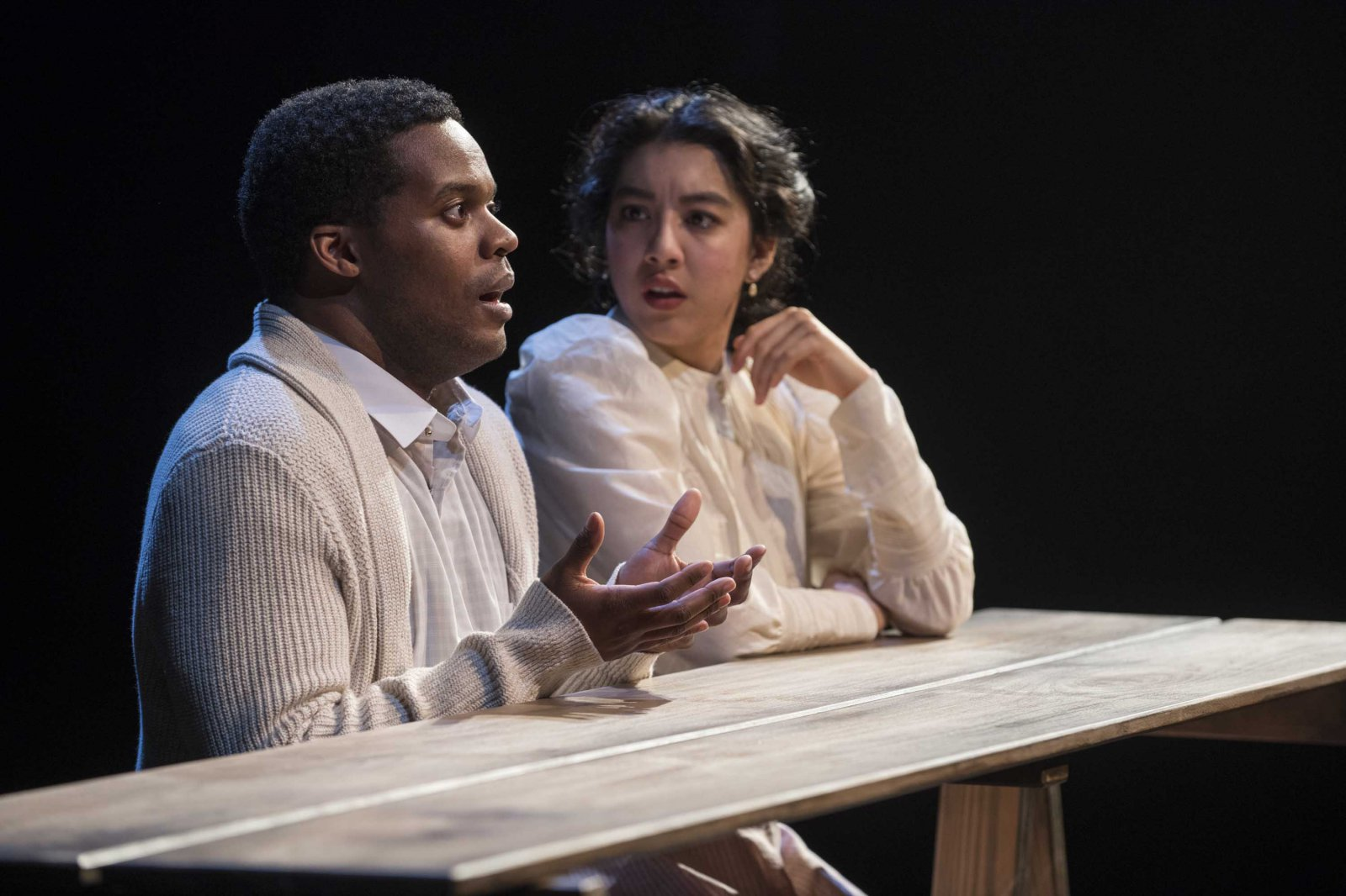 Milwaukee Repertory Theater presents Our Town in the Quadracci Powerhouse from April 10 – May 13, 2018. Left to Right: Di'Monte Henning and Cher Desiree Alvarez