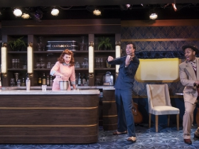 Milwaukee Repertory Theater presents The All Night Strut! in the Stackner Cabaret from November 9, 2018 – January 13, 2019.  Left to Right: Katherine Thomas, Kelley Faulkner, Brian Russell Carey, Nygel D. Robinson