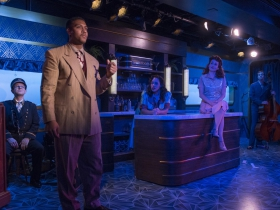 Milwaukee Repertory Theater presents The All Night Strut! in the Stackner Cabaret from November 9, 2018 – January 13, 2019.  Left to Right: Jonathan Spivey, Nygel D. Robinson, Katherine Thomas, Kelley Faulkner, Brian Russell Carey