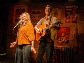 Milwaukee Repertory Theater presents the world premiere production of Back Home Again: On The Road With John Denver in the Stackner Cabaret Sept 11 to Nov 8, 2015. Left to right: Katie Deal and David Lutken.