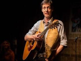 Milwaukee Repertory Theater presents the world premiere production of Back Home Again: On The Road With John Denver in the Stackner Cabaret Sept 11 to Nov 8, 2015. Pictured: David Lutken.
