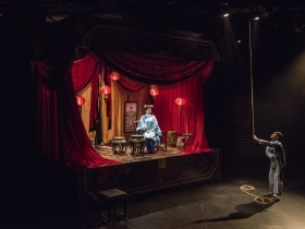 Milwaukee Repertory Theater presents The Chinese Lady  in the Stiemke Studio from February 13 – March 24, 2019 featuring Lisa Helmi Johanson as Afong Moy and Jon Norman Schneider as Atung