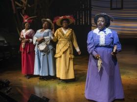 (L – R) Vanessa A. Jones-Dubose, Melody Betts, Vallea E. Woodbury, and Allyson Kaye Daniel in Milwaukee Repertory Theater's 2014/15 Quadracci Powerhouse production of The Color Purple.