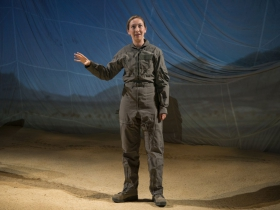 """Milwaukee Repertory Theater presents """"Grounded"""" in the Stiemke Studio Feb 22 – April 2, 2017. Featuring Jessie Fisher as The Pilot"""