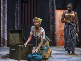 Milwaukee Repertory Theater presents Eclipsed in the Quadracci Powerhouse March 3 – March 29, 2020. Left to right: Jacqueline Nwabueze and Sola Thompson.