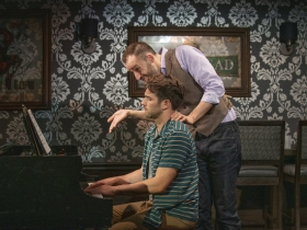 Milwaukee Repertory Theater presents 2 Pianos 4 Hands by Ted Dykstra and Richard Greenblatt in the Stackner Cabaret September 8 – November 3, 2019 featuring Ben Moss (left) and Joe Kinosian (right)
