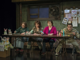 Laura T. Fisher, Tami Workentin, Laura Gordon, and Bernard Balbot in Milwaukee Repertory Theater's 2014/15 Quadracci Powerhouse production of Good People.