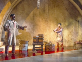 Milwaukee Repertory Theater presents Guards at the Taj  in the Stiemke Studio September 26 – November 4, 2018. Left to Right: Yousof Sultani and Owa'Aìs Azeem
