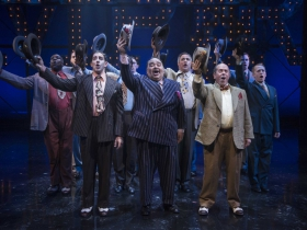 Milwaukee Repertory Theater presents Guys and Dolls in the Quadracci Powerhouse from September 19 to October 29, 2017. Front row Adrian Aguilar, Richard R. Henry, Michael J. Farina and cast
