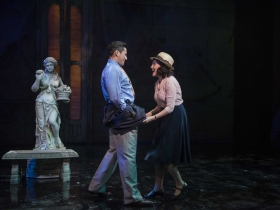 Milwaukee Repertory Theater presents Guys and Dolls in the Quadracci Powerhouse from September 19 to October 29, 2017. Left to Right: Nicholas Rodriguez and Emma Rose Brooks