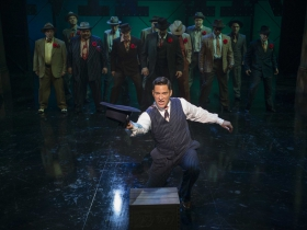 Milwaukee Repertory Theater presents Guys and Dolls in the Quadracci Powerhouse from September 19 to October 29, 2017.  Nicholas Rodriguez and cast