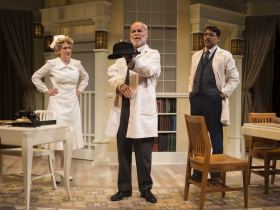 Kelley Faulkner, James Pickering and Gabriel Ruiz in Milwaukee Repertory Theater's 2014/15 Quadracci Powerhouse production of Harvey.