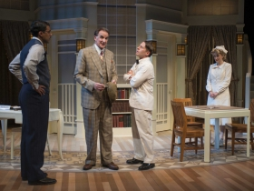 (L – R) – Gabriel Ruiz, Jonathan Gillard Daly, Chris O'Reilly and Kelley Faulkner in Milwaukee Repertory Theater's 2014/15 Quadracci Powerhouse production of Harvey.