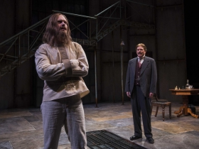 Milwaukee Repertory Theater presents Holmes and Watson in the Quadracci Powerhouse from November 14 to December 17, 2017. Left to Right:  Grant Goodman and Norman Moses.