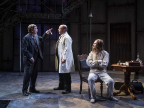 Milwaukee Repertory Theater presents Holmes and Watson in the Quadracci Powerhouse from November 14 to December 17, 2017. Left to Right:  Norman Moses, Mark Corkins and Grant Goodman.