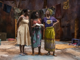 Milwaukee Repertory Theater presents Eclipsed in the Quadracci Powerhouse March 3 – March 29, 2020. Left to right: Matty Sangare, Sola Thompson and Jacqueline Nwabueze.