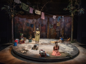 Milwaukee Repertory Theater presents Eclipsed in the Quadracci Powerhouse March 3 – March 29, 2020. Left to right: Jacqueline Nwabueze, Matty Sangare and Sola Thompson.