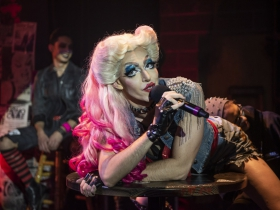 Milwaukee Repertory Theater presents Hedwig and the Angry Inch in the Stiemke Studio January 28 – March 8, 2020. Pictured: Matt Rodin with the company of Hedwig and the Angry Inch.
