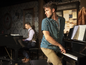 Milwaukee Repertory Theater presents 2 Pianos 4 Hands by Ted Dykstra and Richard Greenblatt in the Stackner Cabaret September 8 – November 3, 2019 featuring Joe Kinosian (left) and Ben Moss (right)