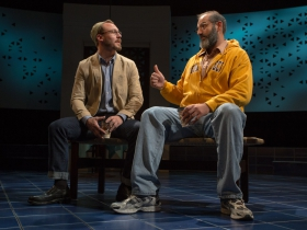 Milwaukee Repertory Theater presents The Who & The What in the Stiemke Studio from September 27 to November 5, 2017. Left to Right: Ben Kahre and Brian Abraham