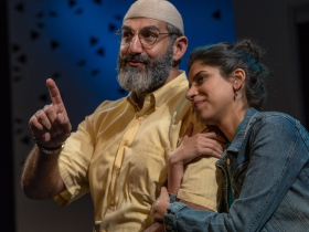 Milwaukee Repertory Theater presents The Who & The What in the Stiemke Studio from September 27 to November 5, 2017 featuring Brian Abraham and Nikita Tewani.