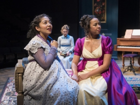 Milwaukee Repertory Theater presents Miss Bennet: Christmas at Pemberley in the Quadracci Powerhouse from November 13 – December 16, 2018.  Left to Right: Sarai Rodriguez, Rebecca Hurd, Margaret Ivey