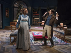 Milwaukee Repertory Theater presents Miss Bennet: Christmas at Pemberley in the Quadracci Powerhouse from November 13 – December 16, 2018.  Featuring Rebecca Hurd and Jordan Brodress.