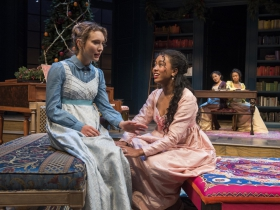 Milwaukee Repertory Theater presents Miss Bennet: Christmas at Pemberley in the Quadracci Powerhouse from November 13 – December 16, 2018.  Left to Right: Rebecca Hurd and Netta Walker.